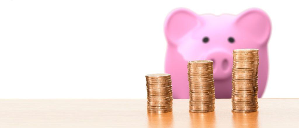 豚とコインの写真